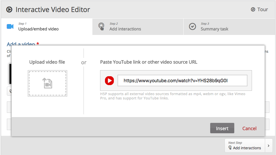 Screen shot showing how easy it is to select content for  interactive videos